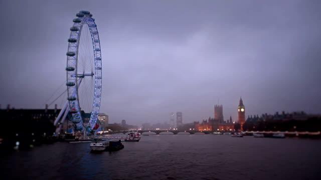 Hungerford Bridge Dusk Panorama, London video