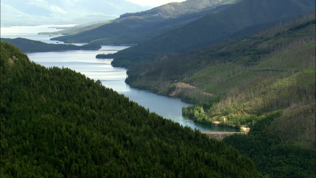 Hungry Horse Dam  - Aerial View - Montana, Flathead County, United States video