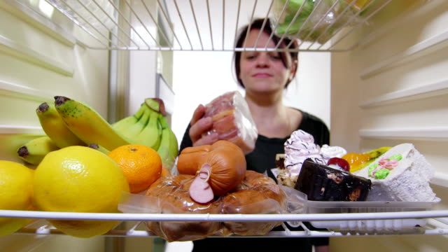 Hungry woman on low-calorie diet video