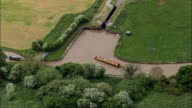 Hurleston Canal Junction  - Aerial View - England, Cheshire East, Hurleston, United Kingdom video