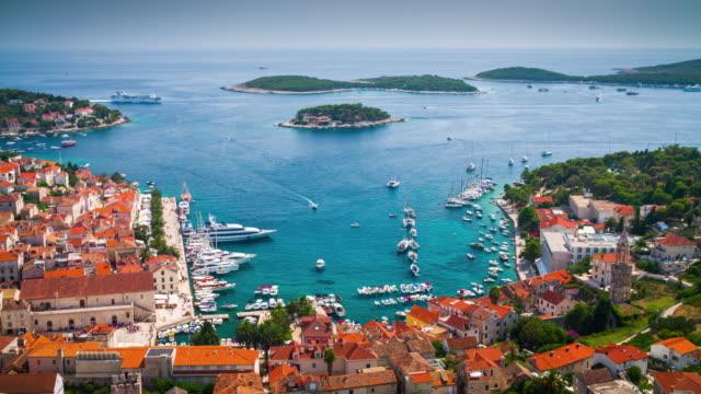 Hvar historic town, mediterranean sea - croatia video