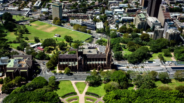 Hyde Park and St Mary's Cathedral, Sydney (4K/UHD to HD) video