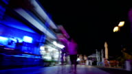 Hyperlapse of people on the streets in night resort city video