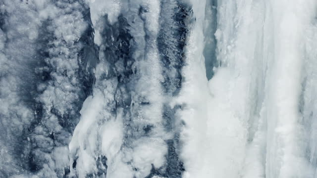 Ice background. Ice surface. Icy waterfall. Water flow under ice. Close Up video