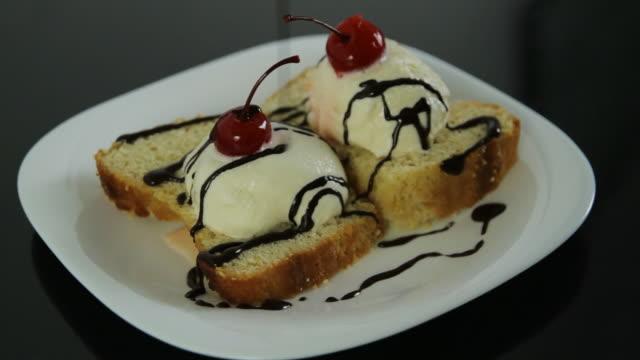 Ice Cream Cake Desert with Chocolate (HD) video