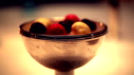 Ice cream Truffle with Restaurant candle flame background video