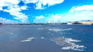 Ice floating on the river Neva video