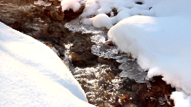 Ice flow in the stream, beautiful winter. video