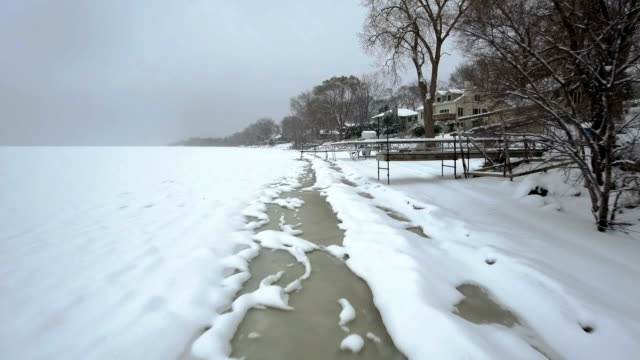 Ice forming along the shoreline video