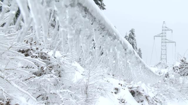 Ice Glaze On Power Line video
