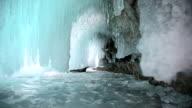 Ice grotto on Baikal lake video