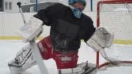 Ice Hockey Goaltender Protecting Net video