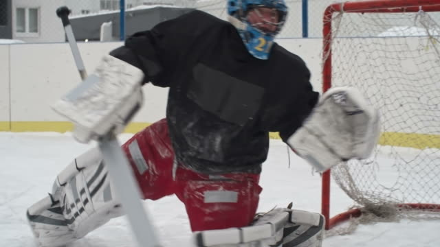Ice Hockey Goaltender Protecting Net video