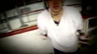 Ice hockey players fighting. Helmet shot. video
