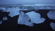 Ice on the black sand ,Iceland video