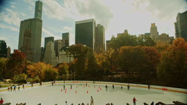 Ice skating at Autumn in Central Park New York City video