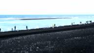 Iceberg and tourists on a black volcanic sand beach video