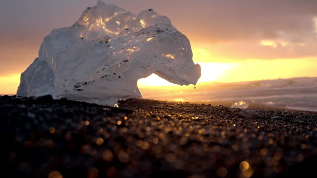 SLO MO Iceberg melting on the black beach video