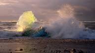 Iceberg on the black beach at dusk video