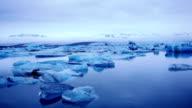 Icebergs in Jokulsorlon lagoon, Iceland video
