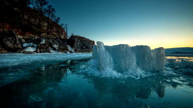 Icebergs Lighting up like Crystals During Sunrise in Glacier Lagoon. video