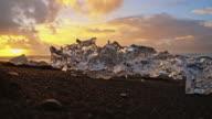 Icebergs on black Icelandic beach video