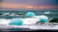 SLOW MOTION: Icebergs on the beach - Iceland video