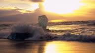 Icebergs on the black beach at sunset video