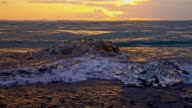SLO MO DS Icebergs on the black beach video