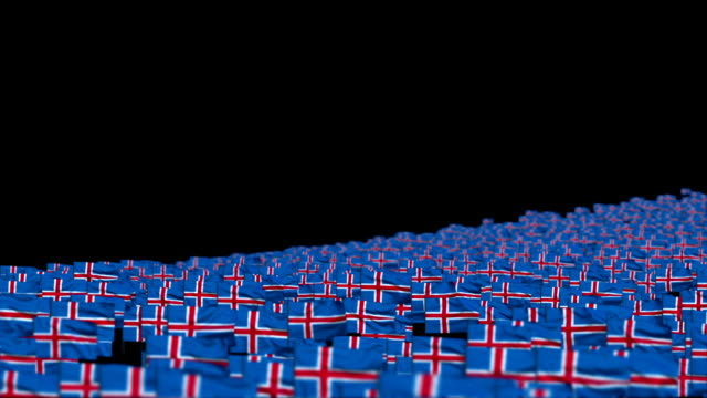 Iceland Flags and Camera Fly Over, DOF video