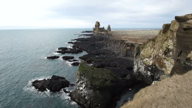Iceland Londrangar rock formation at snaefellsnes peninsula. Amazing volcanic landscape of Iceland National park video