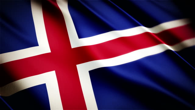 Iceland realistic national flag seamless looped waving animation video