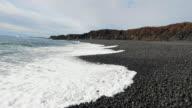Icelandic coast with black sand video