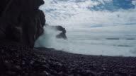 Icelandic coastline. Black, rocky beach video