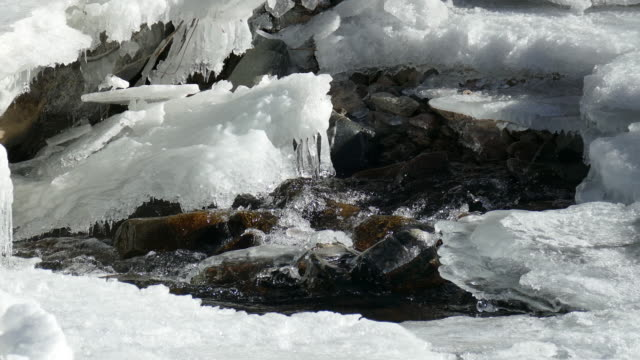 Icicles and snow melt in South Platte River rapids Colorado video