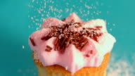 Icing sugar being sieved on pink frosted cupcake video
