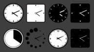 Icon Animation of Different Clock, loop and alpha channel video