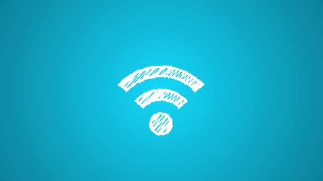 icon connecting to wi-fi point painted with chalk on blue background, hand drawn animation 4K video