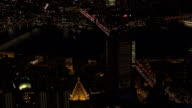 AERIAL: Iconic Brooklyn and Manhattan bridge above the East River lit at night video