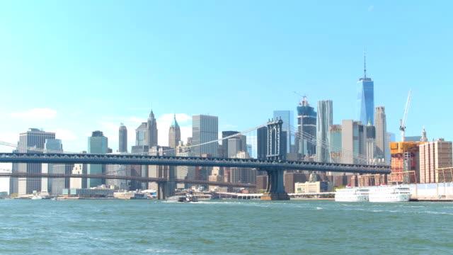 Iconic view of Manhattan and Brooklyn bridges upon Downtown Manhattan skyline video