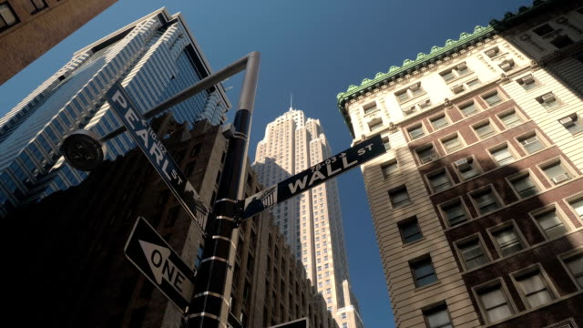 CLOSE UP: Iconic Wall Street sign in Lower Manhattan New York financial district video