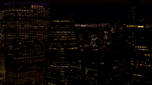 CLOSE UP: Iconic waterfront skyscrapers in Manhattan financial district skyline video