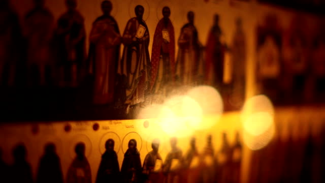 Icons of saints in church video