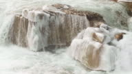 Icy Frozen River Rapids Close Up with Water Flowing in Icicles on Rocks video
