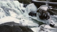 Icy Mountain Creek Waterfall dolly shot video