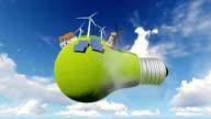 Idea, light bulb. alternative energy. video
