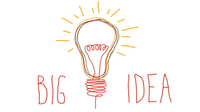 Idea. Light bulb sketch with concept of idea. Doodle hand drawn bulb. video