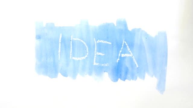 idea text inscription watercolor artist paints blot isolated on white background art video