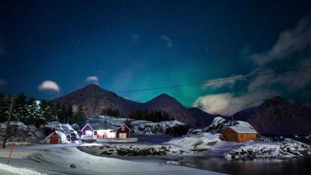 TIME LAPSE: Idyllic Winter Landscape Northern Lights video