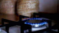 Ignition Of The Gas In The Burner On The Home Kitchen Stove. Slow Motion video